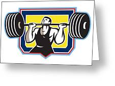 Weightlifter Lifting Heavy Barbell Retro Greeting Card
