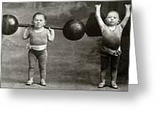 Weightlifting Dwarfism Exhibits Greeting Card