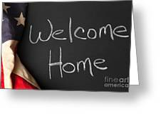 Welcome Home Sign On Chalkbaord Greeting Card