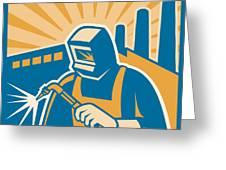 Welder Welding Factory Retro Woodcut Greeting Card