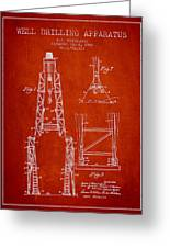 Well Drilling Apparatus Patent From 1960 - Red Greeting Card