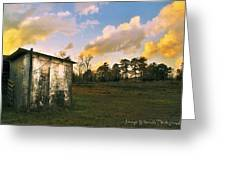 Old Well House And Golden Clouds Greeting Card
