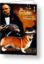 Welsh Corgi Pembroke Art Canvas Print - The Godfather Movie Poster Greeting Card