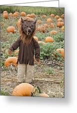 Werewolf In The Pumpkin Patch Greeting Card