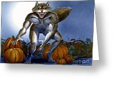 Werewolf With Pumpkins Greeting Card