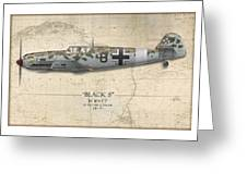 Werner Schroer Messerschmitt Bf-109 - Map Background Greeting Card