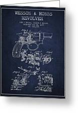 Wesson Hobbs Revolver Patent Drawing From 1899 - Blue Greeting Card
