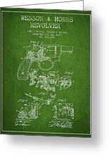 Wesson Hobbs Revolver Patent Drawing From 1899 - Green Greeting Card