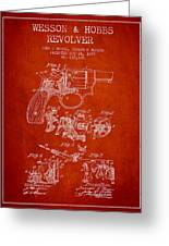 Wesson Hobbs Revolver Patent Drawing From 1899 - Red Greeting Card