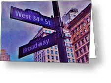 West 34th And Broadway Greeting Card