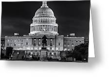 West Front Of The National Capitol Bw Greeting Card