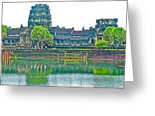 West Gallery From Across Moat In Angkor Wat In Angkor Wat Archeological Park Near Siem Reap-cambodia Greeting Card