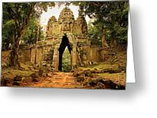 West Gate To Angkor Thom Greeting Card