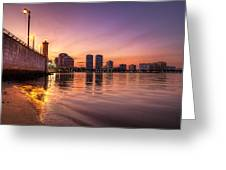 West Palm Beach Skyline At Dusk Greeting Card