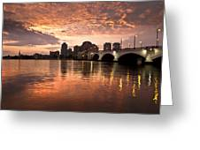 West Palm Beach Skyline At Sunset Greeting Card
