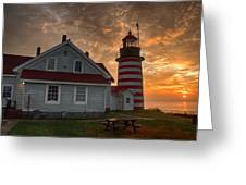 West Quoddy Light At Sunrise Greeting Card
