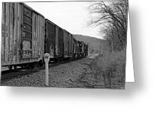 Westbound Train Black And White Greeting Card