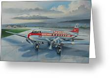 Western Airlines Dc-3 Greeting Card