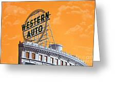 Western Auto Sign Artistic Sky Greeting Card