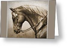 Western Horse Aged Photo Fx Sepia Pillow Greeting Card