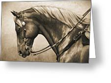 Western Horse Painting In Sepia Greeting Card