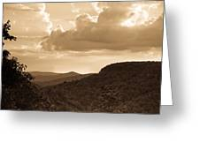 Western Mountain Scene In Sepia Greeting Card
