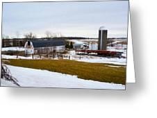 Western New York Farm As An Oil Painting Greeting Card