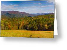 Western North Carolina Horses And Mountains Panorama Greeting Card