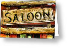 Western Saloon Sign - Drawing Greeting Card