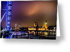 Westminster And Eye Night Glow Greeting Card