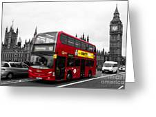 Westminster And Red Bus Greeting Card