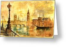 Westminster Palace London Thames Greeting Card