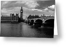 Westminster Pano Bw Greeting Card