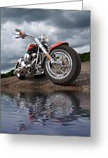 Wet And Wild - Harley Screamin' Eagle Reflection Greeting Card