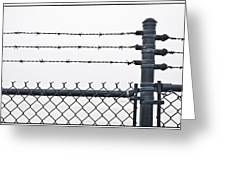 Wet Barbed Wire Fence In Heavy Fog E69 Greeting Card