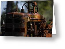 Wet Red Tractor Greeting Card
