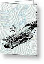 Whale On Wave Paper Greeting Card