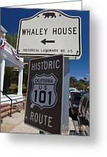Whaley House Us Hwy 101 Historic Route Greeting Card