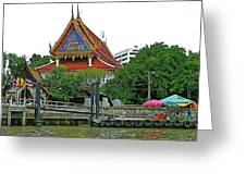 Wharf Along Waterway Of Bangkok-thailand Greeting Card