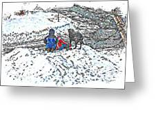 What Fascinates Children And Dogs -  Snow Day - Winter Greeting Card