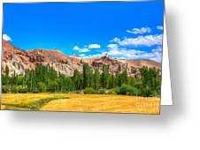 Wheat Farming At Basgo Ladakh Greeting Card