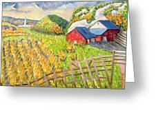 Wheat Harvest Kamouraska Quebec Greeting Card by Patricia Eyre