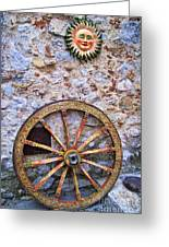 Wheel And Sun In Taromina Sicily Greeting Card
