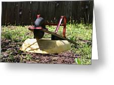 Wheel Barrow In A Yard Greeting Card by Robert D  Brozek