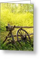 Wheel On Fence Greeting Card