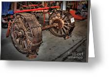 Wheels Of Old Steam Wagon Greeting Card