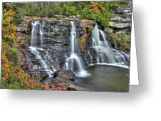 When Light And Water Falls-2a Three Cascades Over Blackwater Falls State Park Wv Autumn Mid-morning Greeting Card