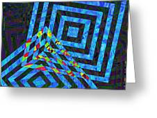 When Squares Merge Blue Greeting Card