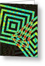 When Squares  Merge Green Greeting Card