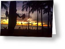 When The Night Come Sunset At The Beach Greeting Card